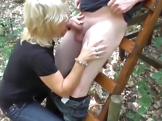 crazy mature milf in stockings having fun with stranger