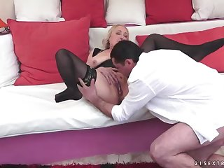hot sex with a horny and very busty blonde granny