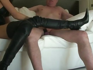 old man cum on leather boots