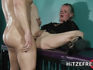 Towheaded Hair Girl German mature Filthy Tina fucks a younger guy