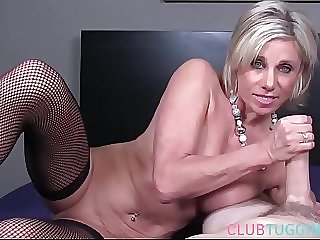 Mature slut jerking thick rock hard cock in POV