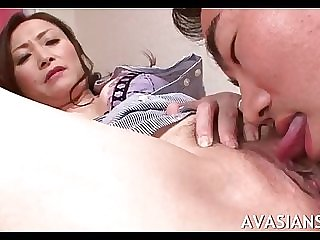 Mature asian teacher gets her unshaved slit lick
