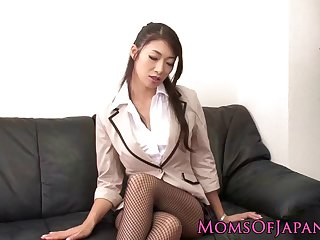 Mischevious Japanese mature likes a young dick inside her