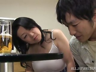 horny mature asian gets her hairy pussy wedged by a young guy