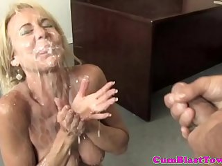 Milf mature with bigtits tugs before wettened