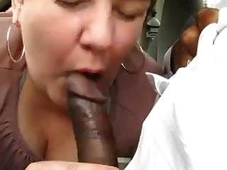 Chubby Mature Gives This Black Fellow A Nice Blowjob
