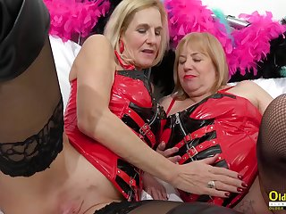 Oldnanny 2 horny matures in red leather corset