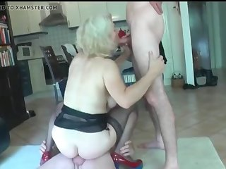 crazy mature milf used hard by two lucky neighbor guys