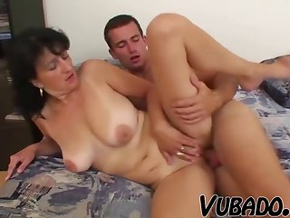 Young stud demolishes a mature honey with saggy natural tits