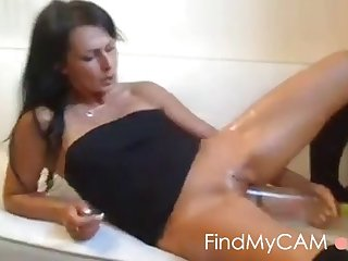 horny mature gets crazy with a wine bottle