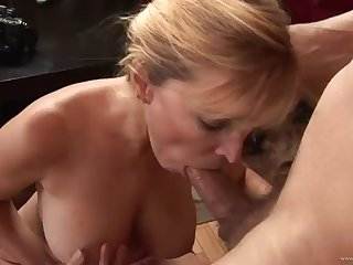 mature skilled deepthroater blonde having hot sex in the living room